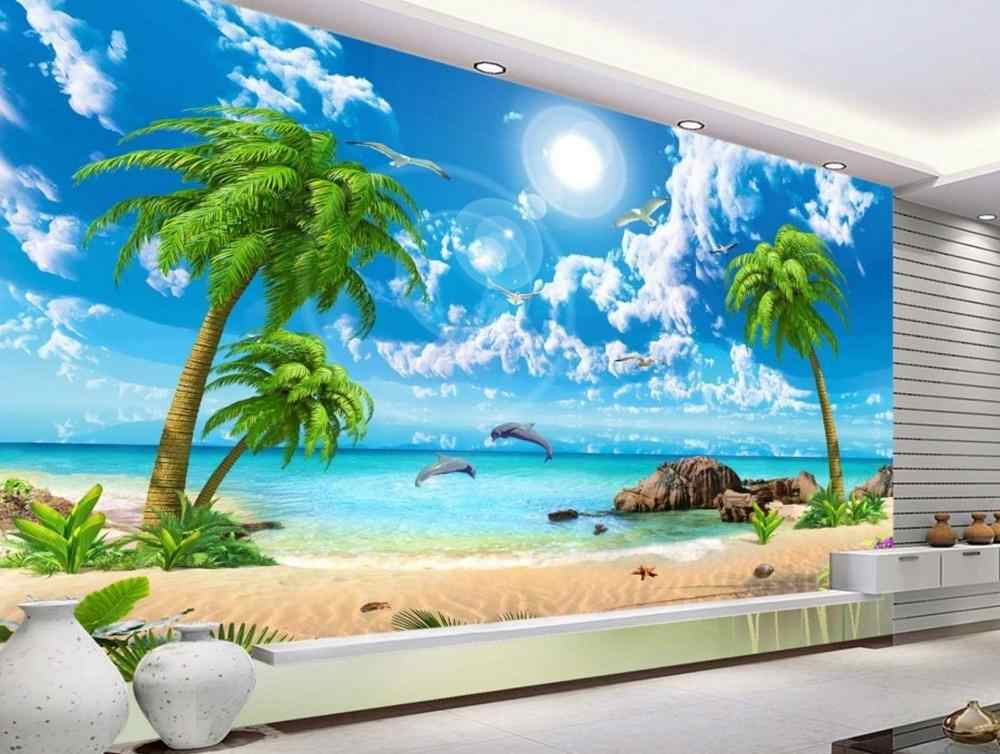 customize photo wallpaper wall mural 3d Beach seascape Living room bedroom stereoscopic 3d wallpaper