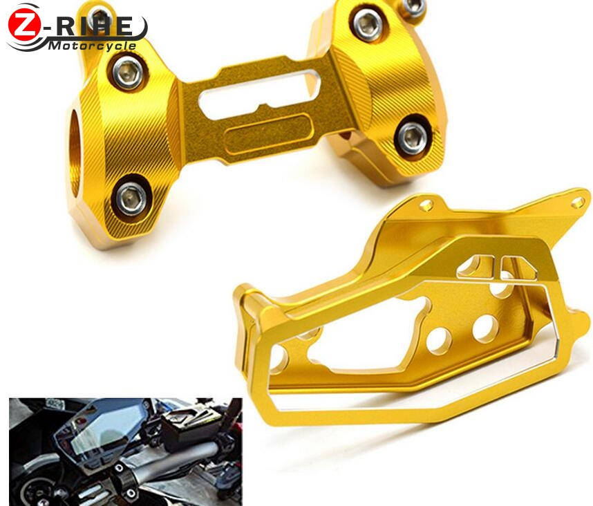 2*Motorcycle CNC Aluminum HandleBar Fat Bar Riser Mounts Clamps+Speedometer Cover Case for Yamaha MT09 MT 09 FZ09 mt09 2013-2016