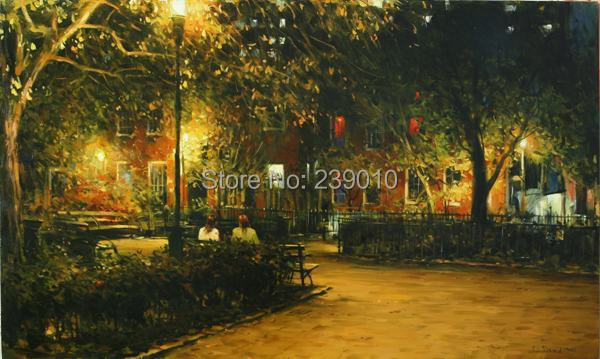 free shipping Under the street light at night canvas prints oil painting realist scenery oil painting on canvas figure picture