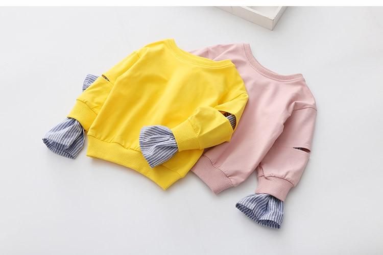 2018 Spring Autumn 2-10 11 12 Years Old Teenager Children Patchwork Fake 2 Pcs Baby Kids Basic Sweatshirt For Girls 11 12 Years (11)