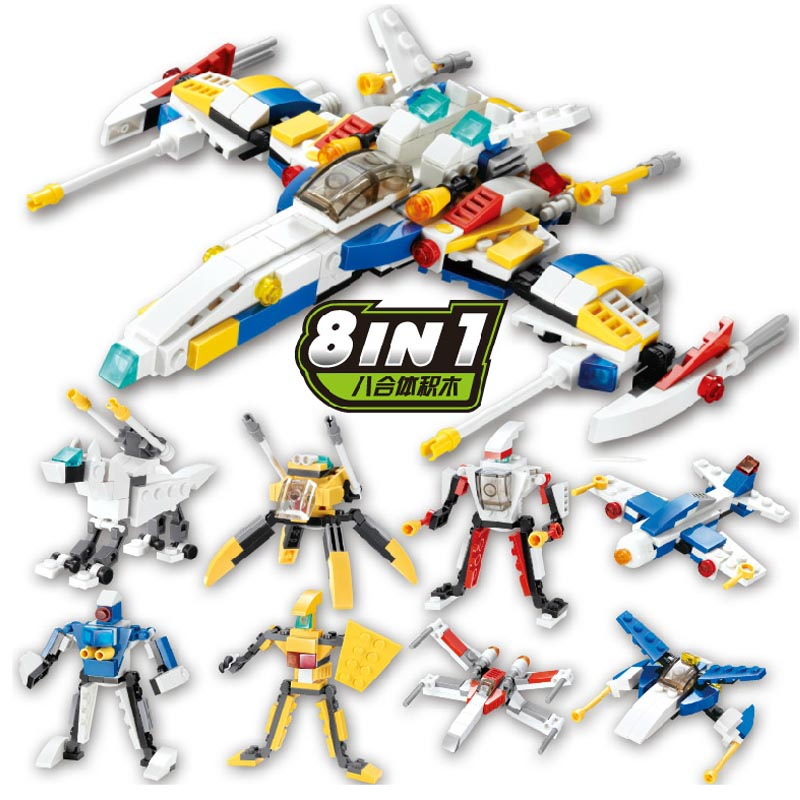 Gudi 409pcs Transform Series Star Guard Fighter Building Blocks Model Toys Robot 8 In 1 Vehicle Sports Children Kids Boy Toy gudi earth border blocks children