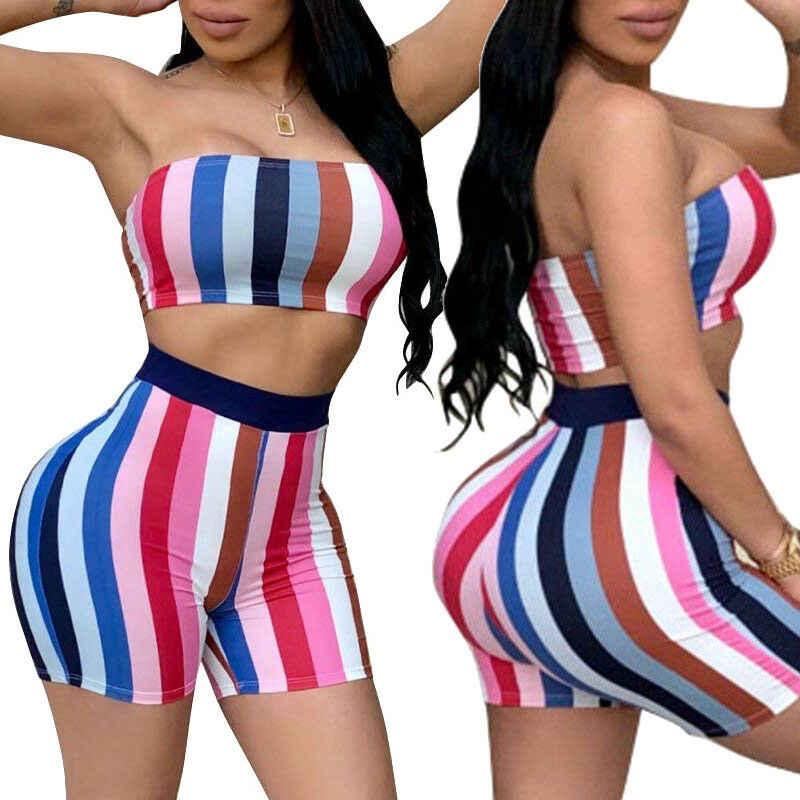 Gợi cảm Ống Dây Crop Top và quần short 2 Bộ phù hợp với áo nữ twotwinstyle 2 mảnh nữ trang phục