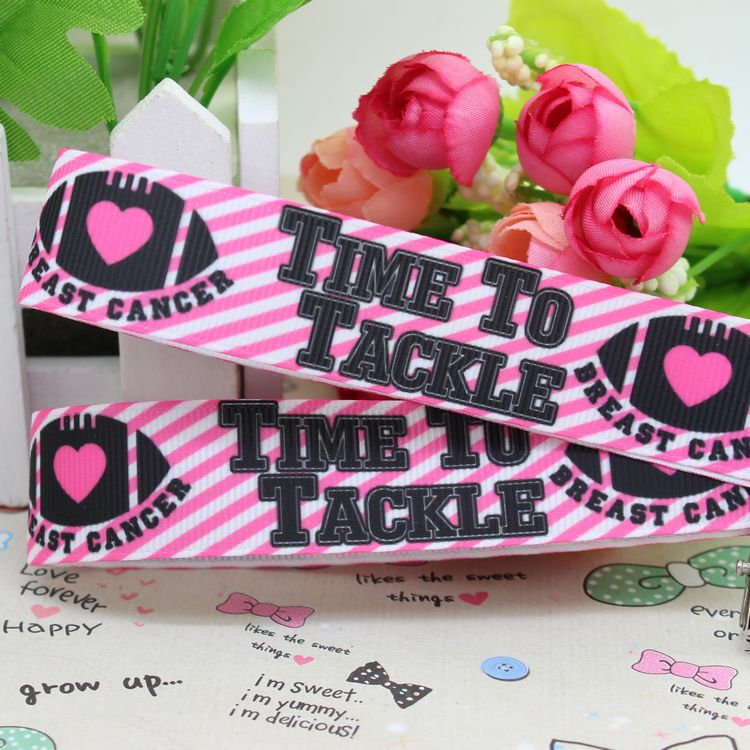 78 free shipping tackle breast cancer printed grosgrain ribbon hairbow diy party decoration wholesale oem 22mm p2204 - Breast Cancer Decorations