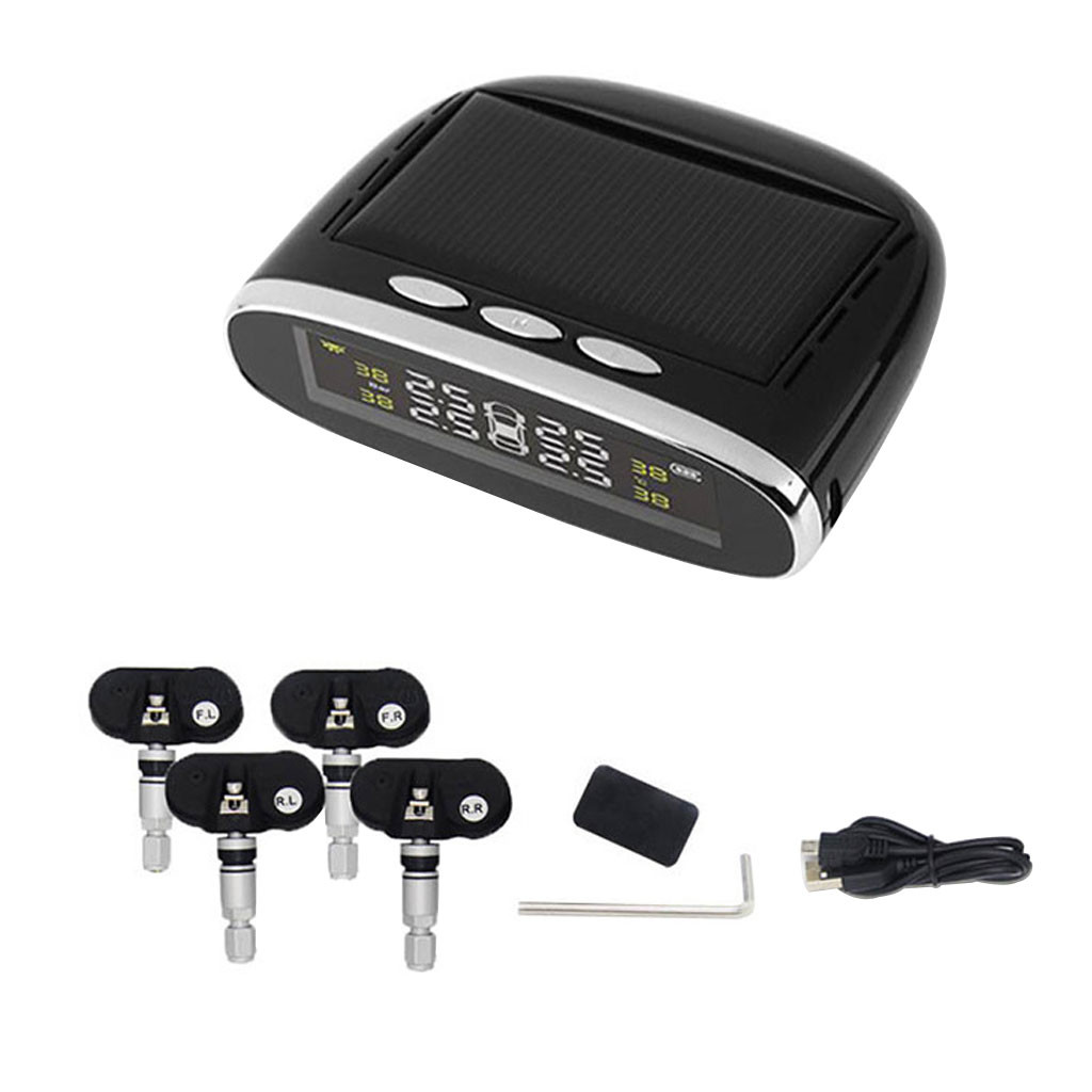 Universal Car Solar Tire Pressure Monitor TPMS Tire Pressure Tester Detection System +4 Internal Sensor
