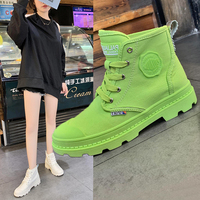 Green Pink Women Martin boots Autumn fashion high quality Lace up sneakers leisure round toe walking Shoes Botas Mujer 2019