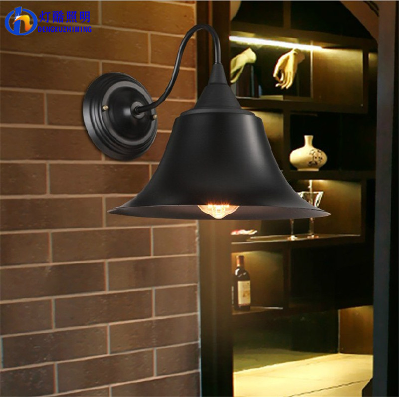 ancient ways, wrought iron horns bedroom wall lamp black antique contracted sitting room corridors aisle outdoor lights
