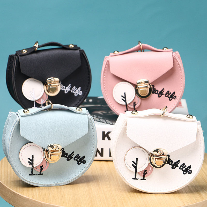 Female Embroidery Fashion Wallet Mini Business Card Holder Storage Bag Women's Round Embroidery Wallet Storage Purse Zipper