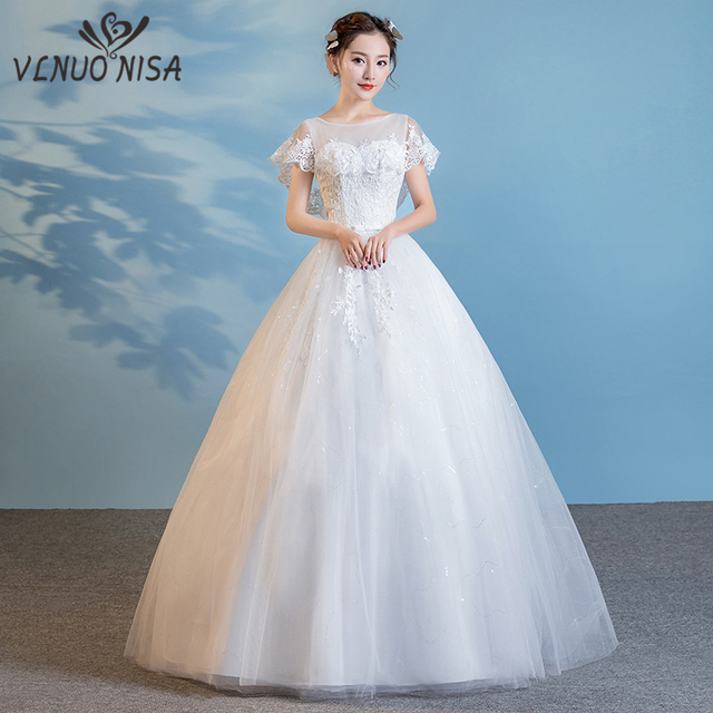 2018 Winter New Arrival Vestido De Noiva Foreign Trade O- Neck Princess  Lace Plus Size b4589868dcc9