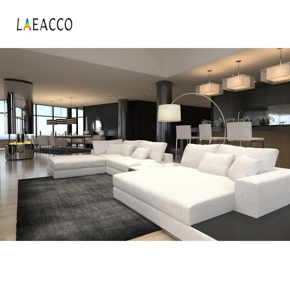 Laeacco Modern Living Room Fireplace Sofa Carpet Light Interior