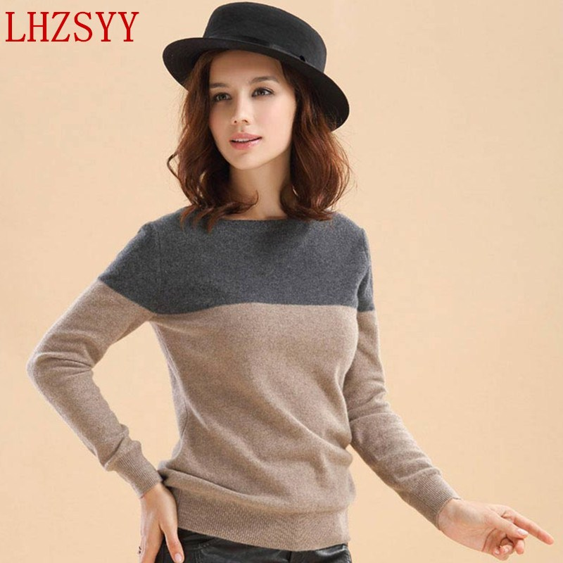 LHZSYY Autumn And Winter New Women's O-collar Cashmere Sweater Fashion Splice Short Section Wool Knit Pullover Soft Sweaters