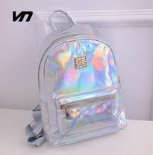 2016 Summer New Fashion Hologram Laser Backpack Female Student PU Leisure Travel Backpack Casual Multicolor Bag For School Girls