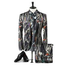 Jacket+Pant+Shirt Mens Three Piece Suit Bamboo Leaf Stage Clothes Blazer Fashion Dress Personalized Dress Leisure Coat Gent Life