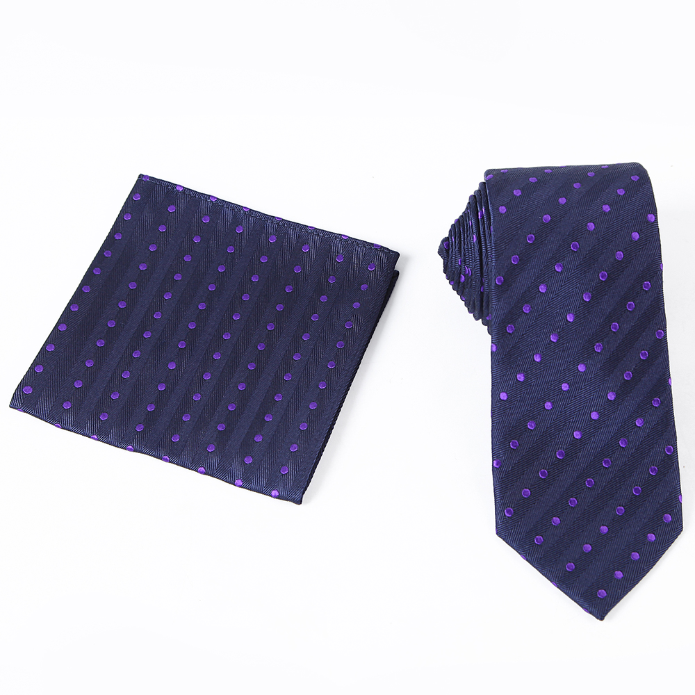 Tailor Smith Necktie Set with Pocket Square Silk Woven Navy Blue - Apparel Accessories - Photo 3