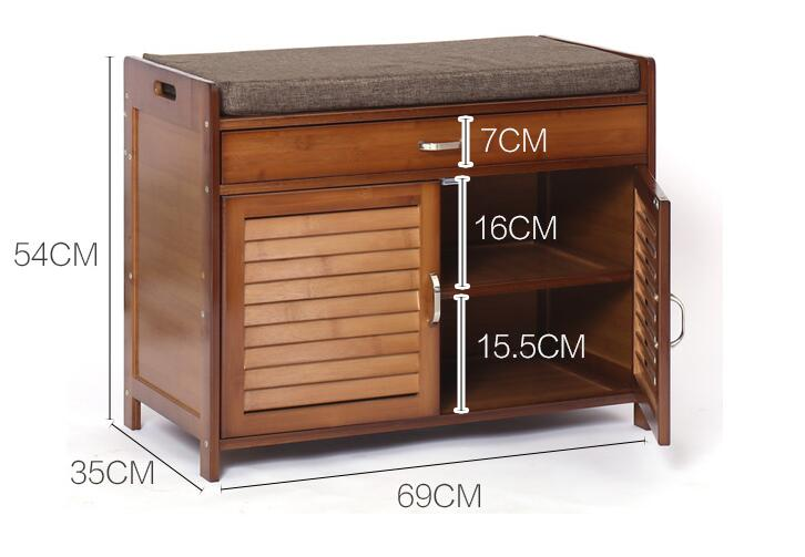 Bamboo Furniture 2 Doors Shoe Cabinet with Drawer & Removable Seat Cushion Shoe Cabinet Storage Unit Bench Entryway Organizer
