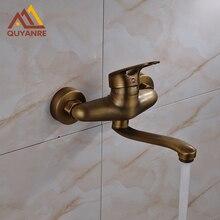 Оптом и в розницу античная латунь кухня смеситель настенный одной ручкой ванной кран длинным носиком