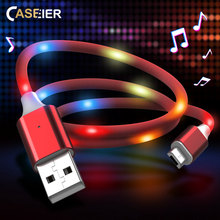 CASEIER LED Voice Control Micro USB Cable For Xiaomi Redmi Note 5 Pro Micro USB Charger Data Cable Micro USB For Samsung S7 usb to micro usb data cable for samsung white 8cm