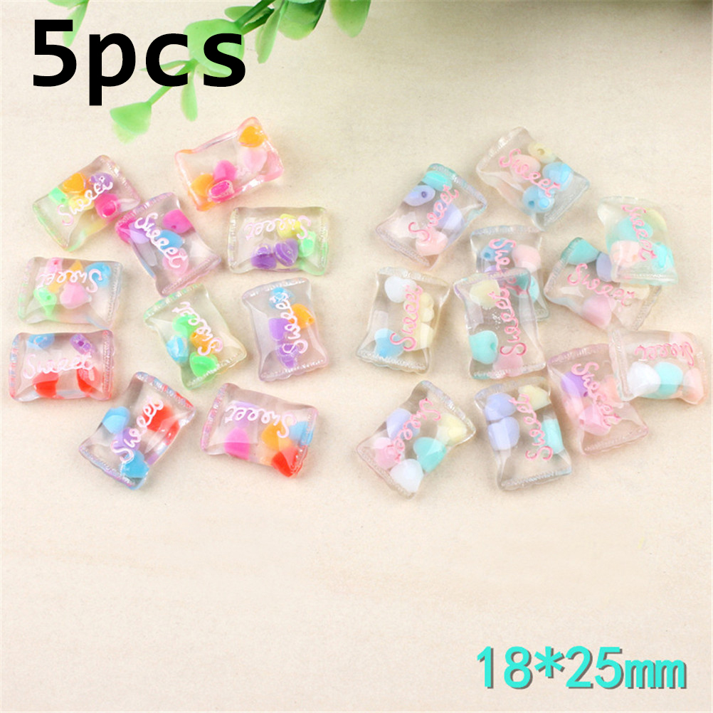 5PC  18*25mm Lovely Sweet Candy Assorted Glitter Hand Paint Resin Cabochon For Kawaii Decoden DIY Projects  Jewelry Findings