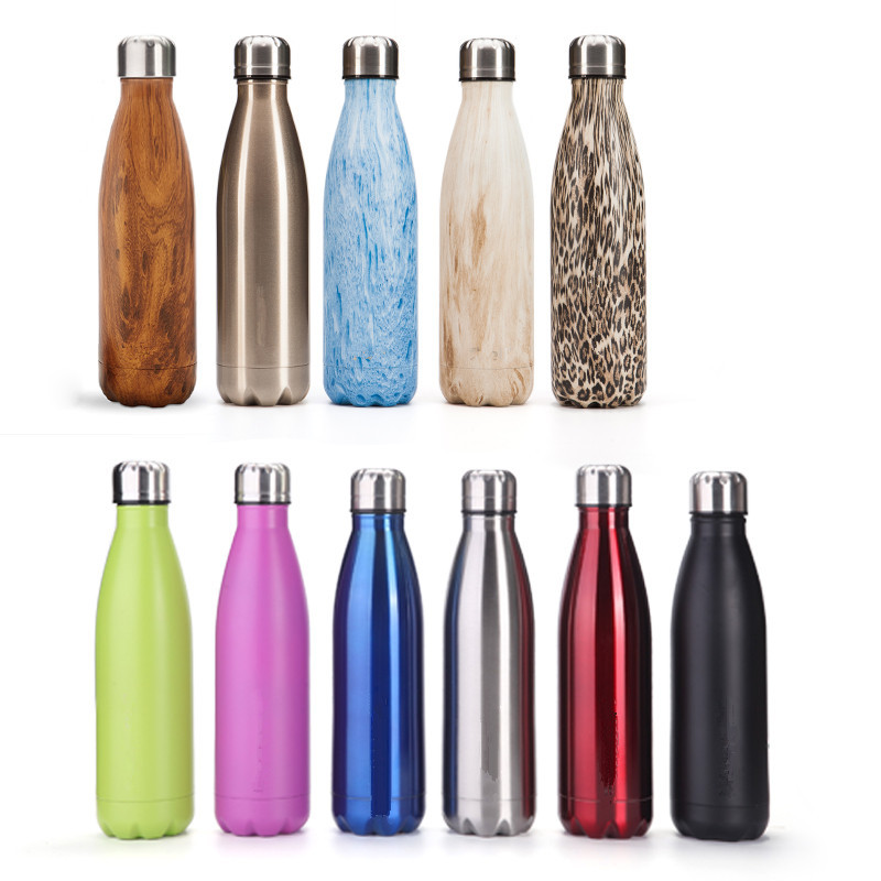 Teak Grain Stainless Steel Expansion Bottle Creative Double wall Coke Bottle Insulation Cup Bowling ConstantTemperature Cup