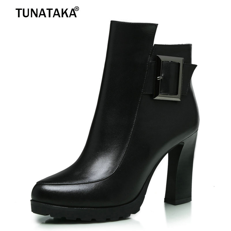 Woman Genuine Leather Platfrom Ankle Boots Fashion Buckle Dress Boots Thick Heel Side Zipper Spring Autumn Black Gary loslandifen fashion women velvet sandals stripe ankle buckle office pumps thick high heel shoes sweet wedding shoes 6050 1ve