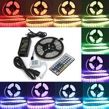 цена на 5M SMD RGB 5050 IP65 Waterproof LED Strip light Set 300 44 Key Remote 12V Supply Power EU US plug