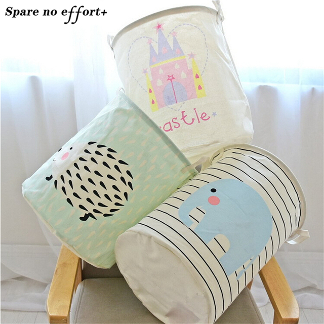 Cotton Linen Fabric Foldable Cartoon Clothes large Castle Laundry Storage Buckets Bags kids Toy Storage Basket free shipping