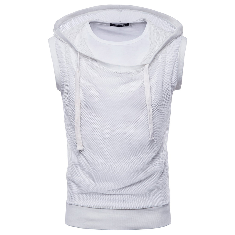 ZYFG Free brand Hooded no sleeve t shirt Men 39 s casual 2018 summer Gauze outside Hip hop design Tees t Shirt men Tops EU US size in T Shirts from Men 39 s Clothing