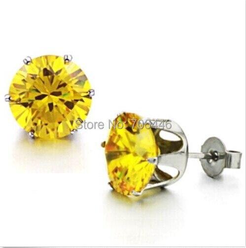 6mm Yellow Crystal Cubic Zirconia Women Stud Earrings Jewelry Titanium Stainless Steel