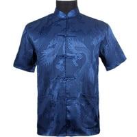 Top Vogue Navy Blue Men S Silk Satin Shirt Top Chinese Vintage Short Sleeve Garment Kung