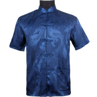Top Vogue Navy Blue Men S Silk Satin Shirt Top Chinese Vintage Short Sleeve Garment Kung