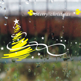 DCTAL Christmas tree glass window wall sticker decal home decor shop decoration X mas stickers xmas086