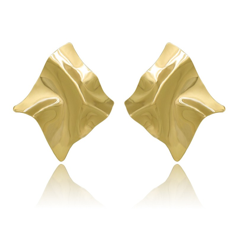EK2126 Exaggerated Brand Gold Color Irregular Square Shiny Metal Big Drop Earrings Women Rhombus Punk Earrings Party Jewelry 2