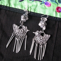 Guizhou Yunnan ethnic jewelry handmade Miao silver silk flower earrings retro bird tassel earrings