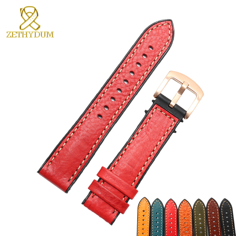 Genuine leather bracelet rubber bottom Italian leather watch strap 18 20 22 24mm band waterproof Silicone base watchband все цены