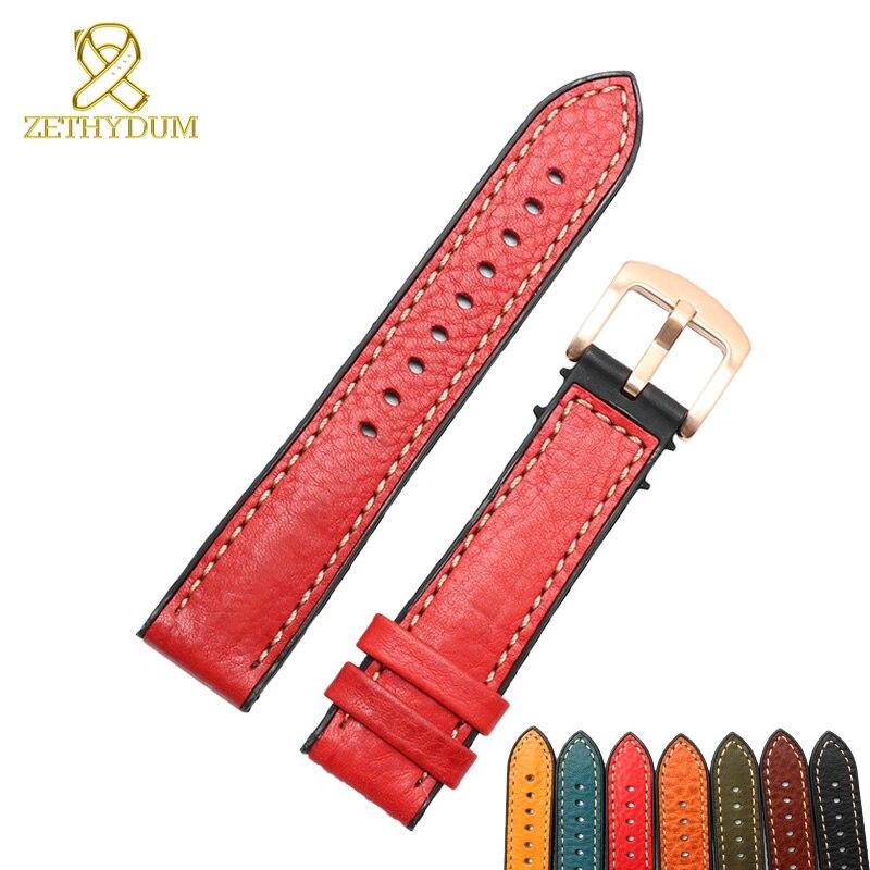все цены на Genuine leather bracelet rubber bottom watch strap wristwatches band 18 20 22 24mm waterproof Silicone base watchband онлайн