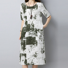 3 colors Fashion Short sleeve Dress Loose Casual plus size Women Cotton linen Print Beach Summer dresses Vestidos femme ZY237