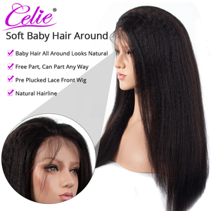Image 3 - Kinky Straight Wig Celie Lace Front Human Hair Wigs For Black Women Pre Plucked 360 Lace Frontal Wig Glueless Human Hair Wigs