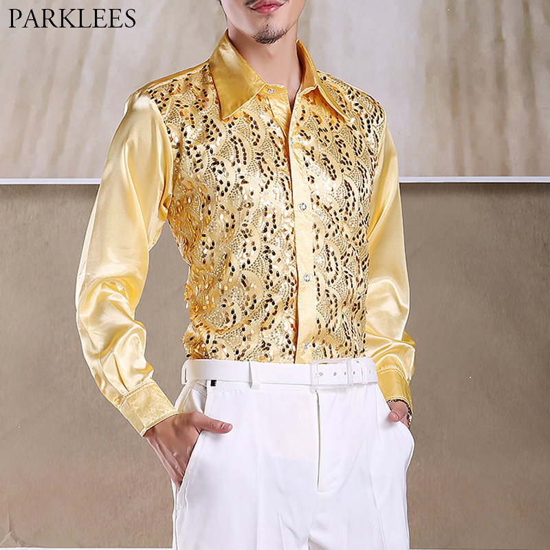 Shiny Gold Sequin Glitter Long Sleeve Shirt Men 2019 New Fashion Nightclub Party Stage Disco Chorus Shirt For Men Chemise Homme