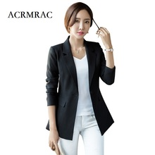 ACRMRAC Women's clothing Long sleeves Solid color Slim Single Button casual suits jacket