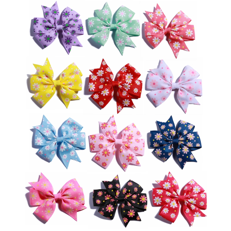 4.3 inch Hair Bow Newborn Baby Girl Bowknot Dot Boutique Ribbon Lined Clips