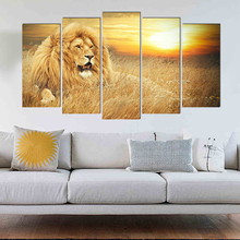 Lion animal classical canvas painting home deco modern art prints 5 psc realist wall pictures for bedroom parlor dining room bar realist interviewing