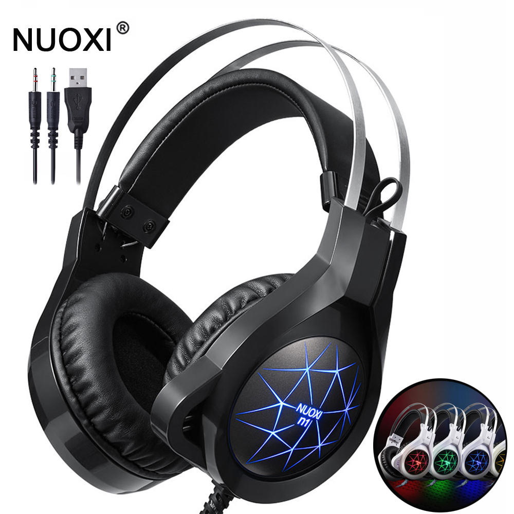 NUOXI Gaming Headphones for Mobile Phone Computer PC 3.5mm Wired Headphones with Microphone LED Lamp Noise Canceling Headset isantao subwoofer headphones earphone noise canceling headset stereo earbuds with microphone for computer smart phone for laptop
