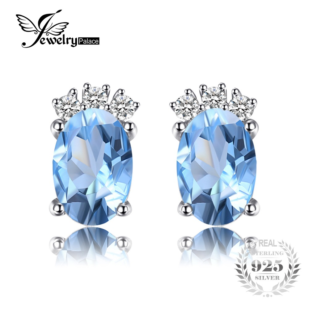 JewelryPalace Classic 1ct Oval Natural Sky Blue Topaz Stud Earrings Solid 925 Sterling Silver Fine Jewelry For Women AccessoriesJewelryPalace Classic 1ct Oval Natural Sky Blue Topaz Stud Earrings Solid 925 Sterling Silver Fine Jewelry For Women Accessories