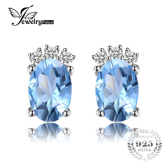 JewelryPalace Classic 1ct Oval Natural Sky Blue Topaz Stud Earrings Solid 925 St
