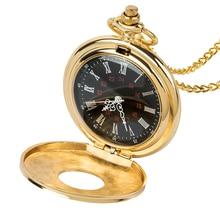 лучшая цена Roman digital quartz necklace Roman digital mechanical pocket watch vintage bronze gold steampunk pocket clock