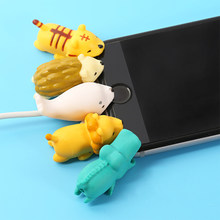 1Pcs Cable Protector Cute Animal Bite USB Data Cable Protector Universal Cable Winder Saver for iPhone Charger Cable Cord Cover(China)