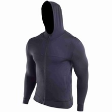 Sports Jacket Men's Autumn and Winter Black Stretch Quick-drying Fitness Clothes Training Outdoor Zipper Hooded Sweat Suit