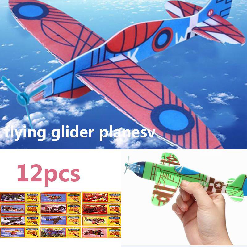 12Pcs DIY Hand Throw Flying Glider Planes Foam Aeroplane Party Bag Fillers Childrens Kids Gift Model Toys Game