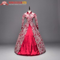 Victorian Gothic Period Red Cotton Dress Ball Gown Ghost Reenactment Witch Steampunk Costume
