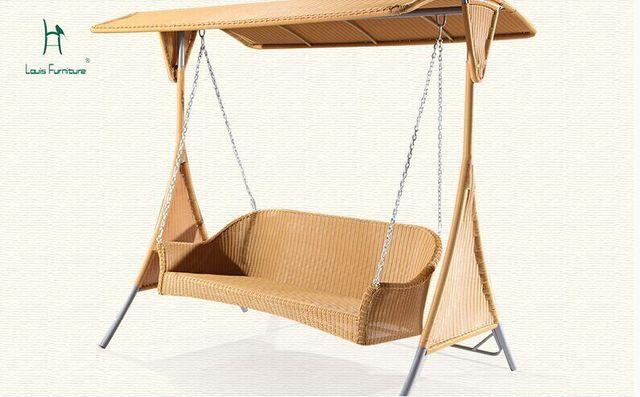 Oscilación al aire libre silla colgante cesta de mimbre nido balcón ...