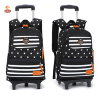 Fashion Designer Brand Primary Elementary Girls 2 6 Wheeled Trolley School Bags Draw Bar Box Suitcase